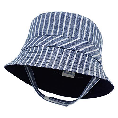 Keepersheep Infant Baby Toddler Boys' Girls' Sun Bucket Hat, Newborn Fisherman Bucket Hat (3-6 Months, Blue and White Stripe)