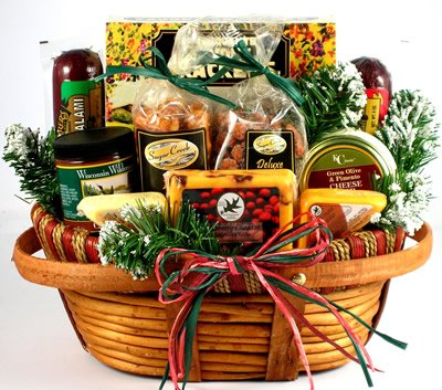 Gift Basket Village Home For The Holidays: Christmas Gift Basket with Cheese & Sausage, Large (Gift Bakets)