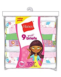 Hanes P913BR Girls\' No Ride Up Cotton Colored Briefs Butterfly Floral- Size 6 (Unit Per Pack 9)