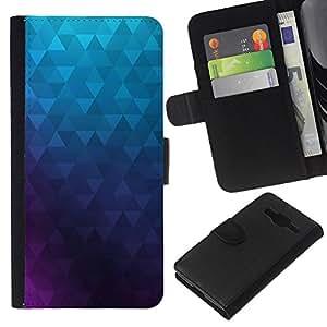 Planetar® Modelo colorido cuero carpeta tirón caso cubierta piel Holster Funda protección Para Samsung Galaxy Core Prime ( Polígono púrpura azul del papel pintado abstracto )