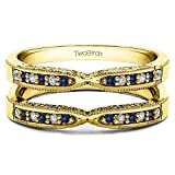 1/4 ct. Diamonds (G-H,I2-I3) and Sapphire Genuine Sapphire X Design Ring Guard with Millgrain and Filigree Detailing in Yellow Plated Sterling Silver (0.24 ct. twt.)