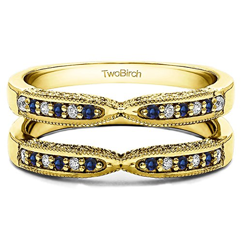 TwoBirch Yellow Plated Sterling Silver Genuine Sapphire X Design Ring Guard with Millgrain and Filigree Detailing with Diamonds (G-H,I2-I3) and Sapphire (0.24 ct. tw.) (Sapphire Filigree & Ring Diamond)