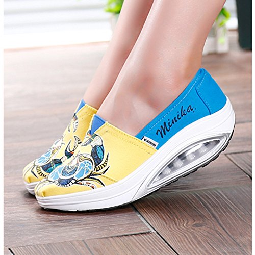 Scarpe Da Ginnastica Moda Donna Tela Splicing Morbido Spessore Di Base Slip On Scarpe Sportive Di Btrada Giallo Blu