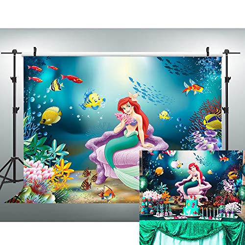 VVM 7x5ft Mermaid Backdrop Underwater World Photography Background for Baby Shower Pictures Children's Theme Birthday Party Decoration Props LXVV836]()