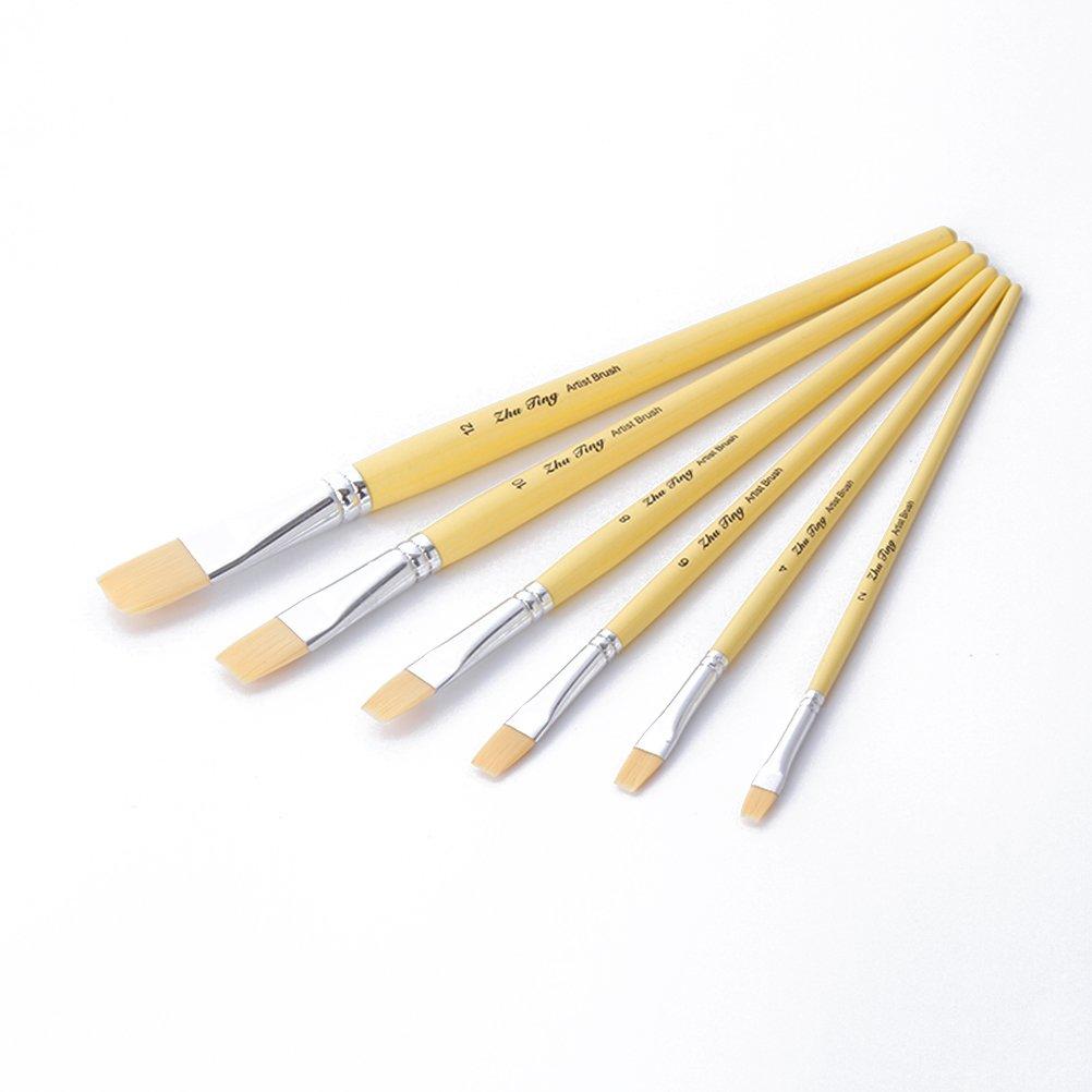 PIXNOR Set di artista pennello, Set di Pennello per Olio e Acrilico Pittura Artista - 6pcs