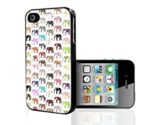 Colorful Floral Print Elephant Pattern Hard Snap on Phone Case (iPhone 4s)