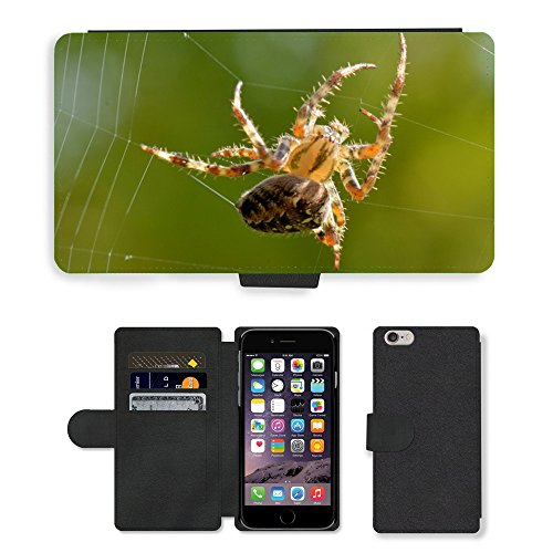 "Just Phone Cases PU Leather Flip Custodia Protettiva Case Cover per // M00127985 Spin Web Nature Macro animal bibi // Apple iPhone 6 PLUS 5.5"""