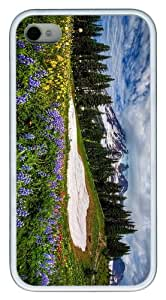 brand new case mountain wildflowers TPU White Case for iphone 4/4S