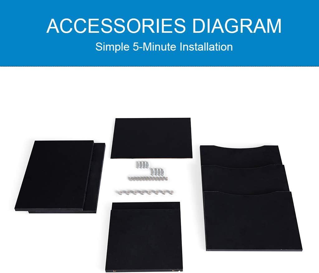 Sunon Desktop File Organizer 4-Tier Adjustable Shelves Paper Holder Wood Desk Paper Storage Organizer Black