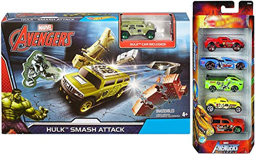 Avengers Hulk Launcher Race Assemble Hot Exclusive Marvel Team 5-Pack Bundle Infinity War Smash Attack Launcher Playset Crushable Vehicle / Break Apart Buildings 2 Items Captain America / Thor (Hulk Attack Vehicle)