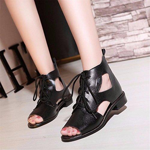 YUCH Ladies' Cool Boots Et La Dentelle Hors de L'Été Chaussures pour Femmes Black fKfuebJ7