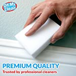 (20 Pack) Extra Large Magic Cleaning Eraser Sponge - 2X Thick, 2X Longer Lasting Melamine Sponges in Bulk - Multi Surface Power Scrubber Foam Pads - Bathtub, Floor, Baseboard, Bathroom, Wall Cleaner 12 WHILE SOME OTHER ERASER SPONGES are too small, don't work, or simply fall apart, we raised the bar and designed our eraser sponges to be extra thick for long lasting cleaning power. With premium quality melamine foam and incredible density, Oh My Clean eraser sponges easily lift away scuffs and grime, every time. JUST ADD WATER TO ERASE - Put away that smelly bleach. Say no to abrasive, corrosive chemicals. Grab the gentle and effective cleaning alternative. Simply wet with water, squeeze and wipe, letting the eraser do the work. It's that easy. TRUSTED BY PROFESSIONAL CLEANERS - Whether you have an occasional mark or a large cleaning company, you will enjoy the incredible value of our eraser bulk packs. Why spend a fortune on sponges? Stock up, save, and be prepared for any cleaning job.