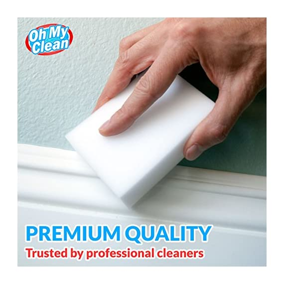 (20 Pack) Extra Large Magic Cleaning Eraser Sponge - 2X Thick, 2X Longer Lasting Melamine Sponges in Bulk - Multi Surface Power Scrubber Foam Pads - Bathtub, Floor, Baseboard, Bathroom, Wall Cleaner 3 WHILE SOME OTHER ERASER SPONGES are too small, don't work, or simply fall apart, we raised the bar and designed our eraser sponges to be extra thick for long lasting cleaning power. With premium quality melamine foam and incredible density, Oh My Clean eraser sponges easily lift away scuffs and grime, every time. JUST ADD WATER TO ERASE - Put away that smelly bleach. Say no to abrasive, corrosive chemicals. Grab the gentle and effective cleaning alternative. Simply wet with water, squeeze and wipe, letting the eraser do the work. It's that easy. TRUSTED BY PROFESSIONAL CLEANERS - Whether you have an occasional mark or a large cleaning company, you will enjoy the incredible value of our eraser bulk packs. Why spend a fortune on sponges? Stock up, save, and be prepared for any cleaning job.