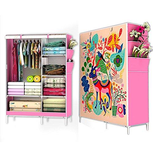 closet armable grande 165 de altura portatil facil de armar funda ecológica resistencia y estabilidad al soportar (rosa)