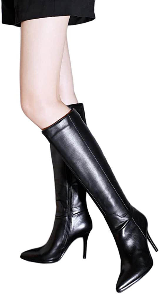 Womens Patent Leather Shoes Knee High Boots  Metal Zip Chunky Heel Pointed Toe