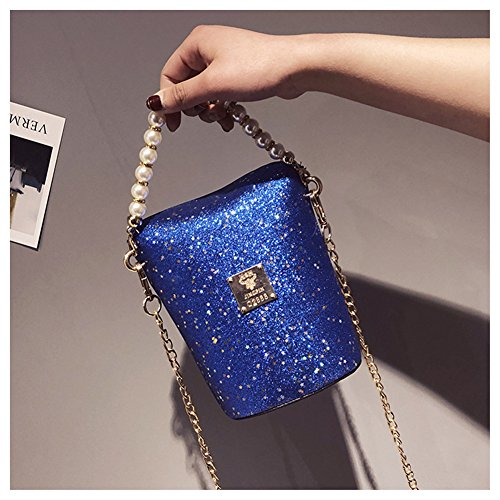 Casual Pearl Hobos Womens Sequins Messenger Bag Handbags Blue FTSUCQ Shoulder Purse Satchels Satchels ZYaEUW