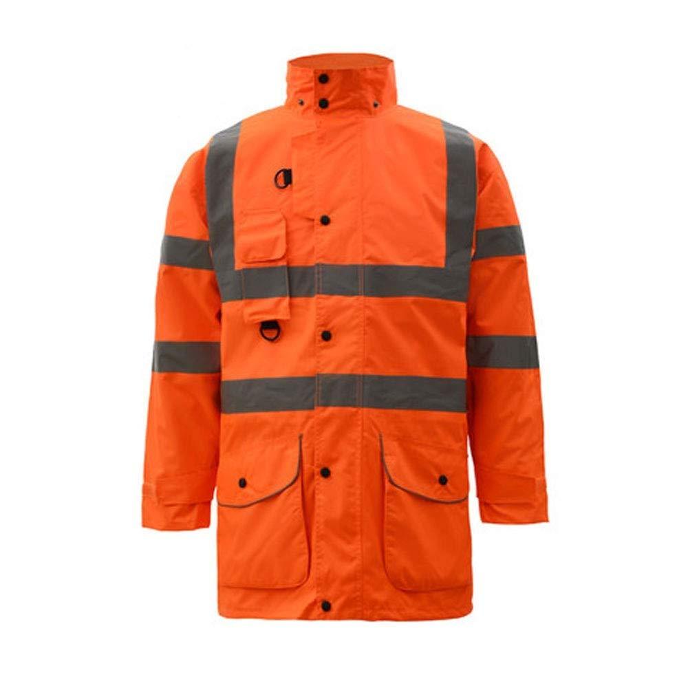 ZHF-Rainwear Reflective Safety Vest - Reflective Cotton Clothing Sanitation Labor Insurance Overalls Highway Traffic Safety Clothing Fluorescent Outside Suit Men's Coat (Size : XX-Large|Orange)