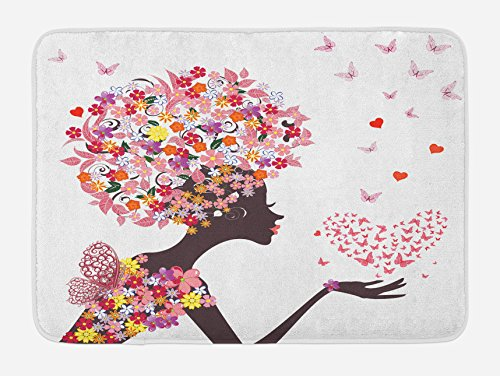 Ambesonne Butterflies Bath Mat, Girl with a Heart of Butterflies Enjoying Blossoms Summertime Fantasy Happy, Plush Bathroom Decor Mat with Non Slip Backing, 29.5 W X 17.5 L Inches, Multicolor ()