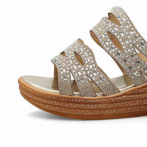 Mee Shoes Damen Keilabsatz Strass open toe Pantoletten Gold