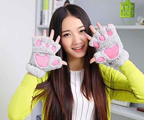にゃんこてぶくろ 猫手袋 アニマル めちゃかわ ふわふわ コスプレ (グレー)の商品画像