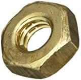 Brass Small Pattern Machine Screw Hex Nut, Plain Finish, #10-24 Thread Size, 5/16'' Width Across Flats, 7/64'' Thick (Pack of 100)