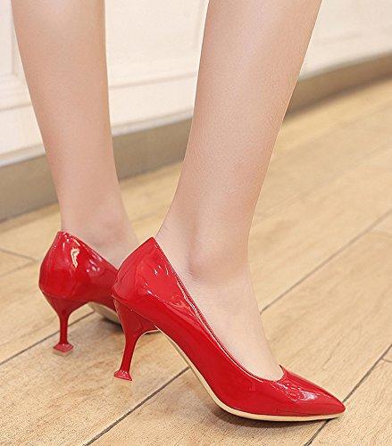 Sexy Escarpins heel Kitten Rouge Pointues Aisun Epouse Travail Femme Bal AqFOx45p