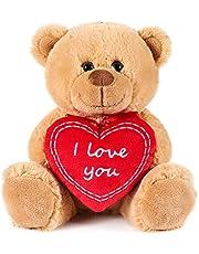 BRUBAKER Teddy Pluche Beer met Hart Rood - I Love You - 25 cm - Teddybeer Pluche Teddy Knuffel - Bruin Licht