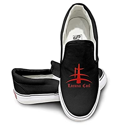 PTCY Italian Metal Band Coil Skate Unisex Flat Canvas Shoes Sneaker Black
