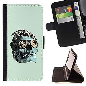 BullDog Case - FOR/Apple Iphone 5 / 5S / - / COOL GREEN MIAMI SKULL DEATH METAL /- Monedero de cuero de la PU Llevar cubierta de la caja con el ID Credit Card Slots Flip funda de cuer