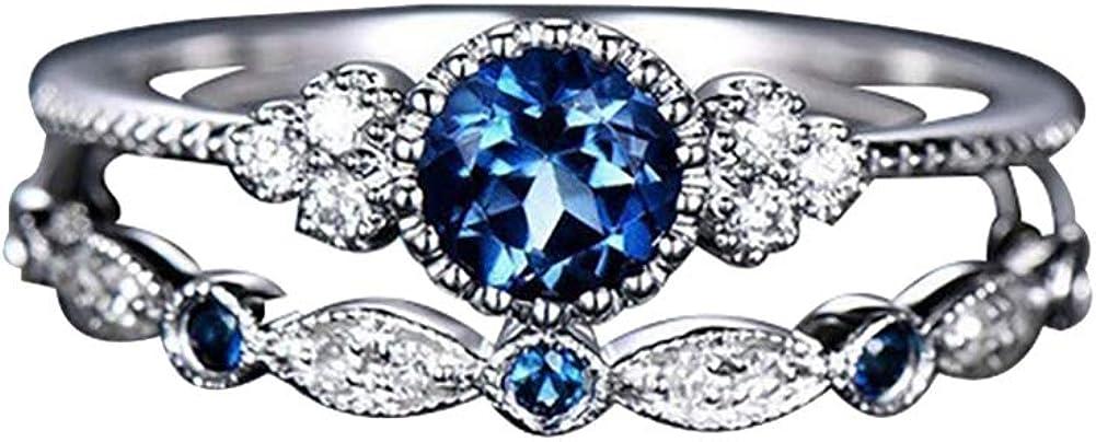 Leisial Anneaux Diamant Bleu Zircon Bague Plaqu/é Or Incrust/é Strass Engagement pour Femmes Cadeau Mariage 18.9mm