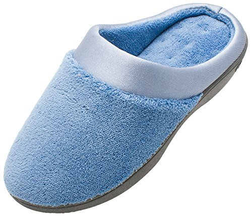 Isotoner Womens Microterry Pillowstep Satin Cuff Clog Denim X-Large 9.5-10