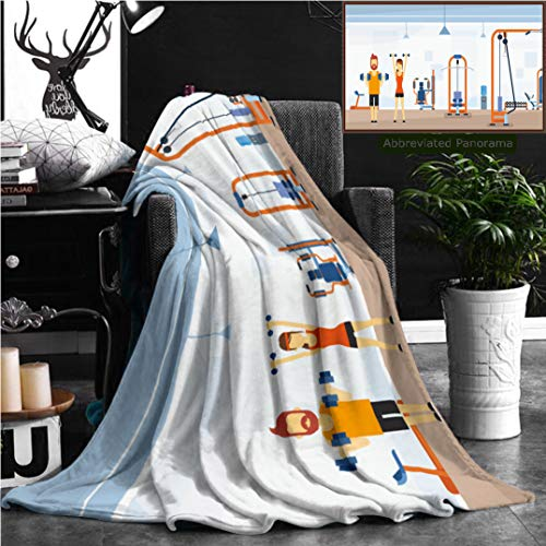 Nalagoo Unique Custom Flannel Blankets Sport Fitness Man Woman Lifting Weight Exercise Workout Gym Interior Flat Illustration Super Soft Blanketry for Bed Couch, Throw Blanket 70