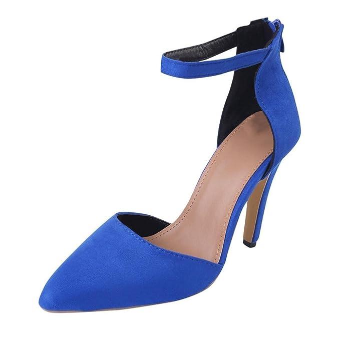 Covermason Zapatos Sandalias mujer verano 2018, tacones tobillo de mujer(34EU,Azul)