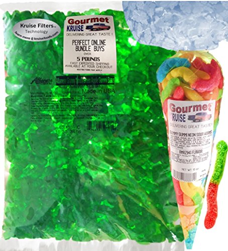 Green Gummi Gummy Bears Apple Albanese - Bulk Candy 5lb Bag With Worms Sour Neon Gourmet Kruise Signature Gift Bag 10 OZ (NET WT 5 LBS.10OZ) 2 Item -