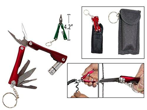 Gadget Deals 9-in-1 Foldable Titanium Coated Micro Pliers Tool Kit with Krypton Bulb Flashlight (Multicolour)