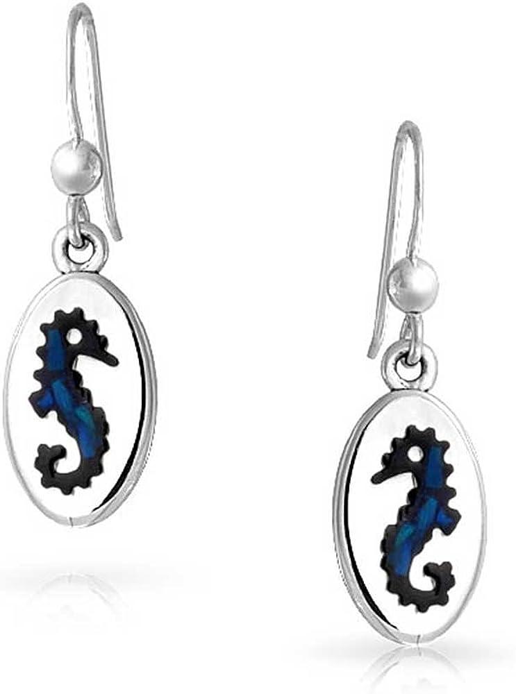 Inlaid Paua Sheel Seahorse Sterling Silver Hook Earrings