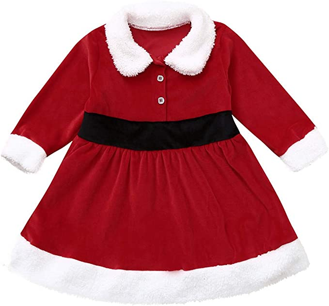 Muium Toddler Baby Bow Patchwork Dress Kids Girls Long Sleeved Dress Party Outfits Clothes for 1-5 Years Old