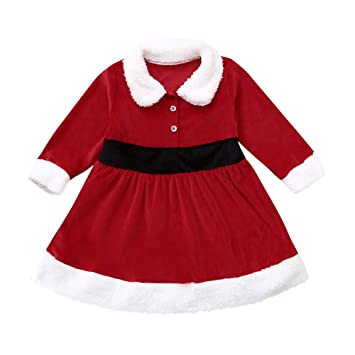 ca448bfc93aa Fashion Christmas Outfit Dress For Toddler Kids Baby Girl Red Long Sleeves  Fluffy Party Princess Dress