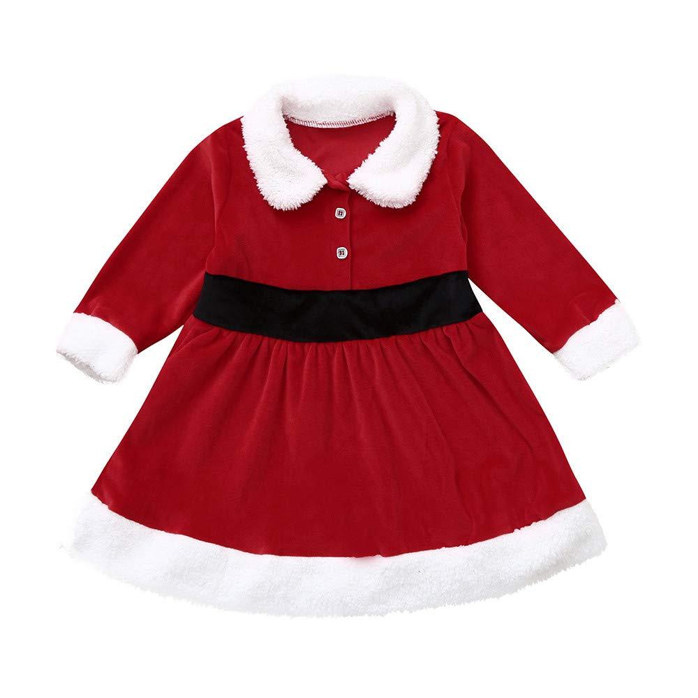 CSSD Christmas Clothes Kids Baby Girl Long Sleeve Christmas Plush Dresses (Red, 18-24 M)