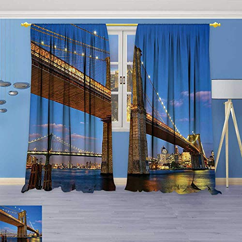 Kitchen Decor Collection,Collection Brooklyn Bridge at Twilight in New York City East River Modern Metropolis,Window Treatments for Kitchen Curtains 2 (Gold Collection Twilight Bridge)