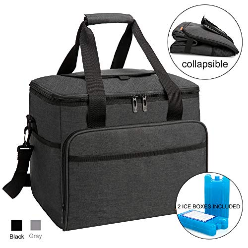 apollo walker Collapsible Insulated Soft 40-Can Cooler Bag 30L with 2 Ice Packs – Roomy for Family Reunion, Party, Beach, Picnics, Sporting Music Events, Everyday Meals to Work Black
