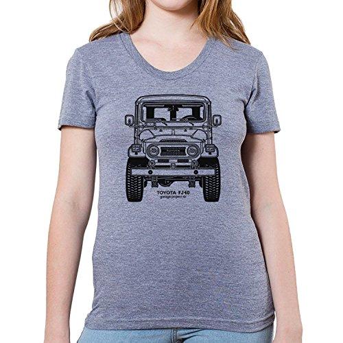 GarageProject101 Women's Toyota FJ40 Land Cruiser Front T-Shirt XL Athletic Gray (Toyota Land Cruiser Prado For Sale In Usa)