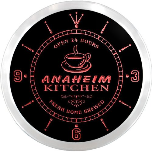 Anaheim Neon Sign - ncpc2104-r Anaheim Home Kitchen Open Bar Beer Neon Sign LED Wall Clock