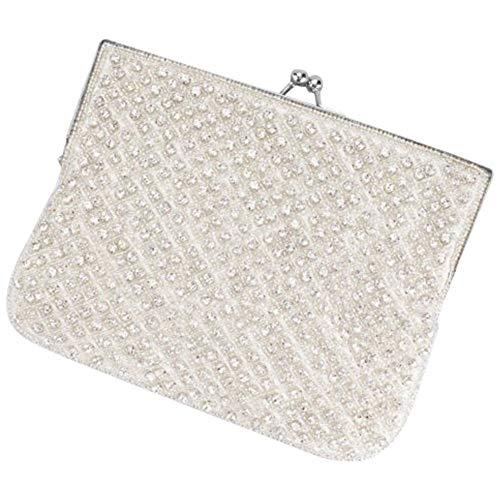 Crystal Beaded Lattice Clutch Style HBNALA, Ivory ()