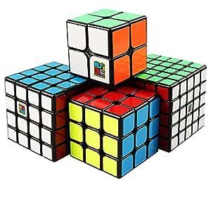 D-FantiX Moyu Cube Bundle 2x2 3x3 4x4 5x5 Speed Cube Set MF2S MF3S MF4S MF5S Pack Black Puzzle Toy Gift Box