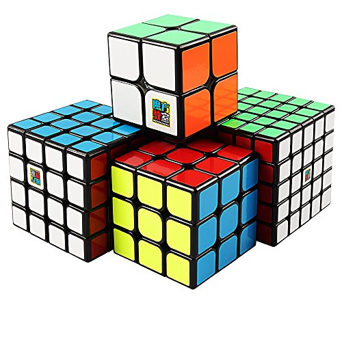 Coogam Moyu Cube Bundle 2x2 3x3 4x4 5x5 Speed Cube Set MF2S MF3S MF4S MF5S Pack Black Puzzle Toy Gift Box (Packs 5 Original)