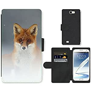 Hot Style Cell Phone Card Slot PU Leather Wallet Case // M99999974 Fox Animal Pattern // Samsung Galaxy Note 2 II N7100