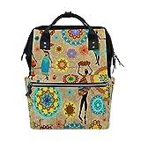 WOZO Retro Mandala Africa Women Multi-function Diaper Bags Backpack Travel Bag