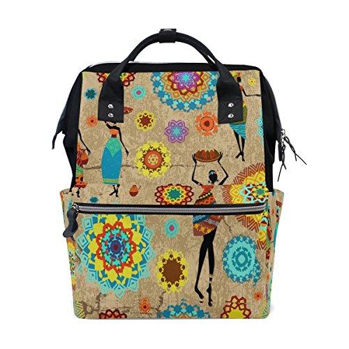 WOZO Retro Mandala Africa Women Multi-function Diaper Bags Backpack Travel Bag by WOZO