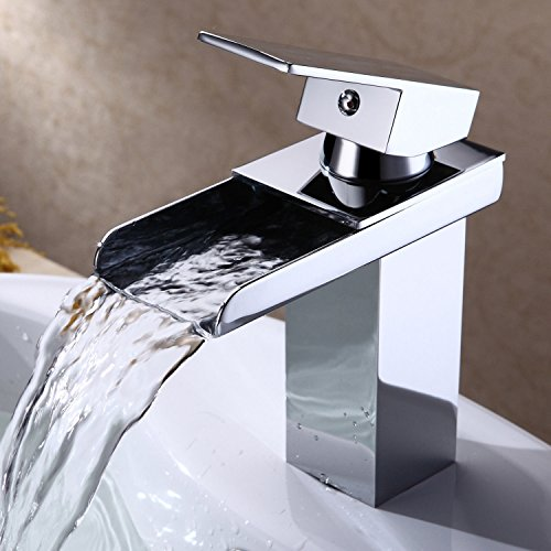 Ollypulse Brass One Hole Single Handle Ceramic Disc Valve Waterfall Bathroom Lavatory Sink Faucet, -